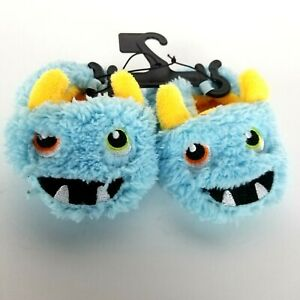 Wonder Nation Infants Boys Blue Monster Slippers House Shoes Size 4 Fuzzy Warm