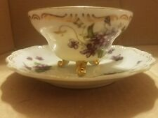 Norcrest china Sweet Violets three footed Teacup  Saucer with gold trim NW-C159D