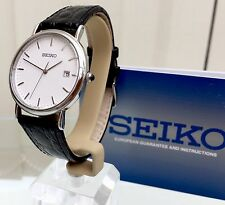 NEW SEIKO MEN'S Watch RRP £180 Super Lightweight CLASSIC LOOK LEATHER STRAP
