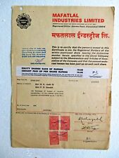 Vtg Share Certificate ink signed Autographs Mafatlal Industries Ltd India