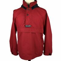 VTG Chaps Ralph Lauren Quarter Zip Jacket Medium Hood Red Navy Blue Pullover