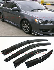FOR 2008-17 LANCER EVO 10 MR SEDAN WAVY STYLE SMOKE WINDOW SUN RAIN GUARD VISOR