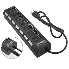 7 Port USB 2.0 Multi Charger Hub High Speed Adapter ON/OFF Switch For Laptop/PC