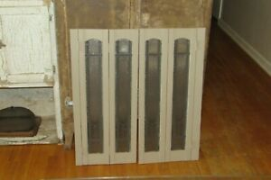 """2 Vintage Frosted Glass Interior Window Shutters 30-1/2""""T     #3042"""