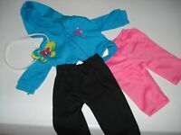 """FITS AM GIRL 18"""" DOLL FIBRECRAFT TURQUOISE HOODIE PINK PANTS BLACK PANTS HAIRBND"""