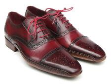 Paul Parkman Men's Side Handsewn Captoe Oxfords Red/Bordeaux Shoes (Id#5032)