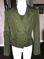 Armani Collezioni Green Womens Textured One Button Blazer & Tank sz 6