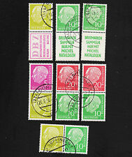 OPC 1956 Germany Heuss Zusammendruck Se-tenant Lot of 7 Used  18594