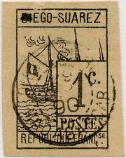 FRENCH COLONIES DIEGO SUAREZ 1890 SHIP 1c USED MADAGASCAR