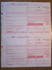 2012 IRS Tax Form 1099-MISC single sheet set for 2 recipients, carbonless 5-part