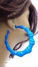 LARGE BAMBOO HOOP EARRINGS BLUE BAMBOO HOOPS FULL HOOP EARRINGS 3.5 INCH