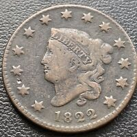 1822 Large Cent Coronet Head One Cent 1c Better Grade #28988