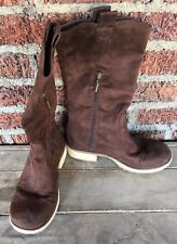 Bongo Brown Suede Fashion Boots Women's Size 8M  faux leather