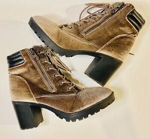 Madden Girl Womens Combat Purple Velvet Combat Chunky Heel Lug Boots Shoes 9 Med