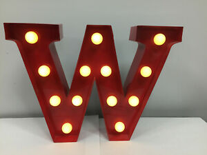 9 inch Red Metal Alphabet LED Night Lamp Circus Style Wall Light Up:Letter W