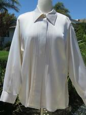 ST. JOHN IVORY COLOR SILK LONG SLEEVES BUTTON UP SHIRT TOP SZ 12 LARGE L