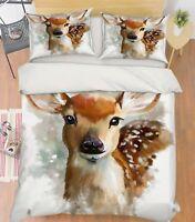 3D Painting Deer 799 Bed Pillowcases Quilt Duvet Cover Set Single Queen King CA