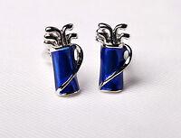 Blue Majestic Golf Bag Silver Clubs Ball Mens Cufflinks Luxury Fashion Jewelry