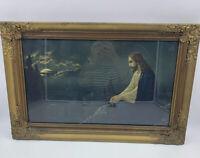 Jesus Praying Mount Mt Of Olives Vintage Ornate Wooden Wood Framed Print READ