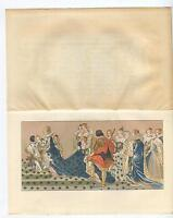 ANTIQUE MARGUERITE OF VALOIS CORONATION MARIE DE MEDICI KING HENRY IV OLD PRINT