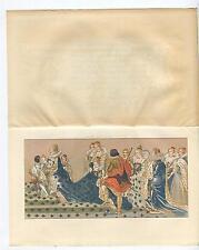 ANTIQUE MARGUERITE OF VALOIS CORONATION MARIE DE MEDICI KING HENRY IV OLD PRINT