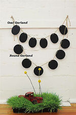 Garland Chalkboard Oval Strung on Jute Twine Sign Banner Home Decor