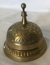 Vtg Ornate Solid Brass Hotel Reception Front Desk Bell Hand Made India Very Good