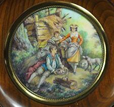 Miniaturmalerei auf Bein Miniature Lupenmalerei  19 Jh.