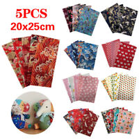 5pcs 20x25cm Fat Quarter Cotton Fabric Cloth Sewing Patchwork Craft Material