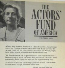 Danny Kaye Flyer ONLY 1970 Actors Fund of America Photo