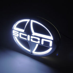 (12.5CMX8.5CM) White 5D LED Car Tail Rear Logo Light Badge Lamp Emblem For Scion