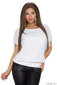 SEXY Kurzarm Sommer Top Longshirt Shirt T-Shirt  Weiß  34 36 38 S / M