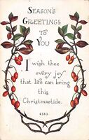 Christmas Season's Greetings Christmastide 1914 Postcard by F.A. Owen Wreath