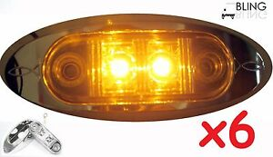 "6 Amber w Bezel LED Oval Fender Clearance Side Marker Truck Trailer 2"" Light USA"