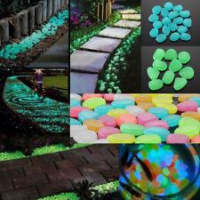 100pc  Glow In The Dark Pebble Stones Luminous Garden Walkway Flower Bed Shiny