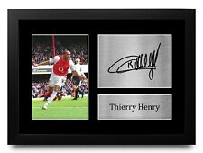 More details for thierry henry signed pre printed autograph a4 photo gift for an arsenal fan