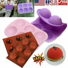 6 Cavity Half Ball Sphere Cake Silicone Mold Muffin Chocolate Baking Pan Mould~S