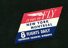 Vintage Airline Luggage Label CANADIAN COLONIAL AIRWAYS NY Montreal 8 flights