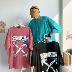 Herren OFF white OW Graffiti Pfeil Druck Kurzarm T-Shirt Kaws Unisex lässig Tee