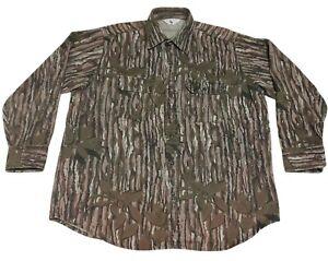 Vintage Black Duck Men's Long Sleeve Button Down Camo Shirt Sz 2XL Realtree USA