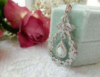 Opal Cubic Zirconia Lavalier Necklace Pendant Sterling Silver