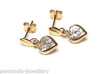 9ct Gold CZ Heart Drop Dangly earrings Made in UK Gift boxed