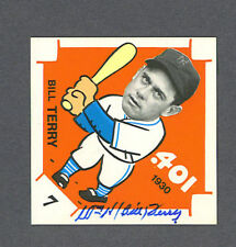 Bill Terry signed New York Giants Diamond Shaped card