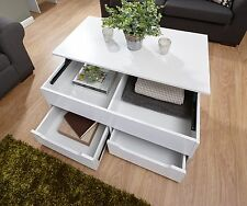 White Coffee Table Storage Unit 2 Drawer Lift up Top Mechanism Seconds