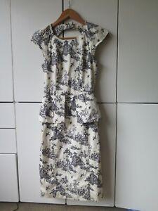 CUE Sz 6 Oriental Print Peplum Dress VGC - Exclusive Cue Print