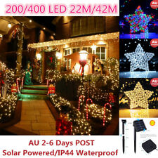 Solar 200/400 LED 22M/42M String Fairy Lights LED Garden Party Christmas Outdoor