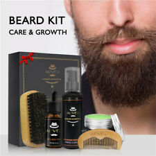 5X Barbe Moustache Baume Shampooing Brosse Soin Peigne Homme Kit Coffret Cadeau