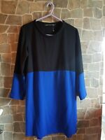 Zara Woman Shift Dress Royal Blue Black Contrast  XS fits UK 8