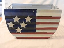 Metal Wire Basket with American Flag Painted on With Handle