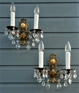 Vintage French Rococo wall lights brass & crystal Rewired ready to hang